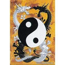 Tribal Ying Yang-dragons Textiel Poster Vlag