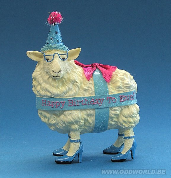 Happy Birthday Sheep Ewe Figure Statue Odd World